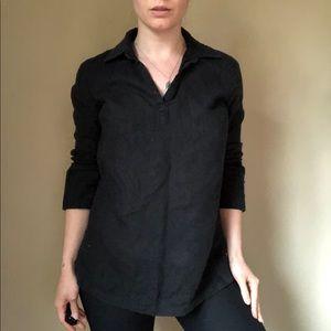 Brooks Brothers black Irish linen V neck blouse